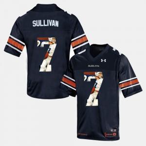 For Men's #7 Throwback Pat Sullivan Auburn Jersey Navy Blue 300625-209