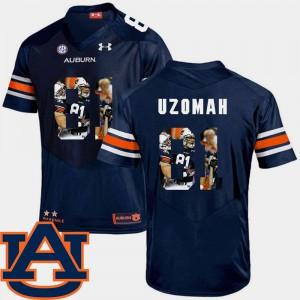 C.J. Uzomah Auburn Jersey Navy Pictorial Fashion For Men's Football #81 922912-747