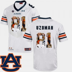 Football #81 C.J. Uzomah Auburn Jersey Pictorial Fashion White Men's 959328-422