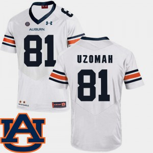 White C.J. Uzomah Auburn Jersey Men's SEC Patch Replica College Football #81 304711-180