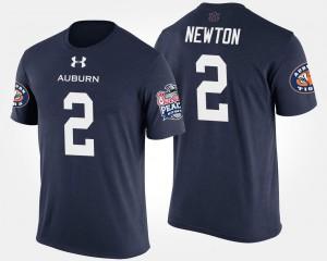 Bowl Game Navy Peach Bowl For Men's #2 Cam Newton Auburn T-Shirt 240667-968
