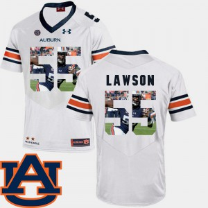Pictorial Fashion White Football For Men's #55 Carl Lawson Auburn Jersey 246703-896