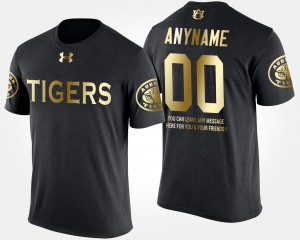 Mens #00 Gold Limited Auburn Customized T-Shirts Short Sleeve With Message Black 887829-551