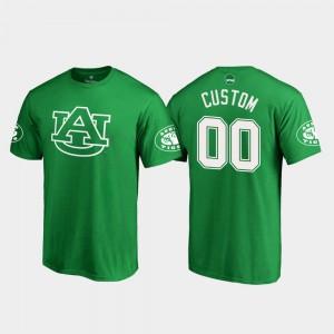 St. Patrick's Day #00 Kelly Green White Logo Auburn Customized T-Shirts Mens 570944-572