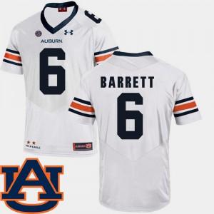 College Football Mens SEC Patch Replica #6 Devan Barrett Auburn Jersey White 662164-832
