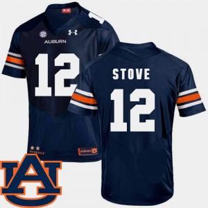 SEC Patch Replica Mens College Football #12 Eli Stove Auburn Jersey Navy 595729-521