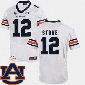 For Men's #12 SEC Patch Replica Eli Stove Auburn Jersey White College Football 966509-385