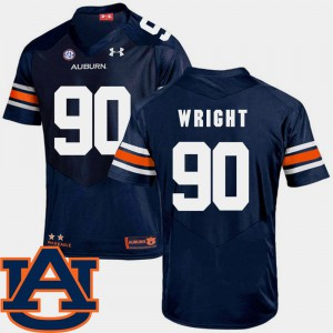 #90 SEC Patch Replica College Football Navy For Men's Gabe Wright Auburn Jersey 659577-618