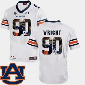 #90 Pictorial Fashion White Football Gabe Wright Auburn Jersey For Men 741487-200