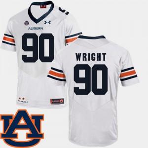 #90 White SEC Patch Replica College Football Men's Gabe Wright Auburn Jersey 418307-783