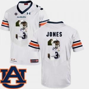 White Mens Football Jonathan Jones Auburn Jersey #3 Pictorial Fashion 930719-902