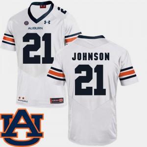 #21 College Football White Kerryon Johnson Auburn Jersey SEC Patch Replica For Men's 550509-661