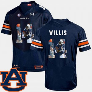 For Men Navy Malik Willis Auburn Jersey #14 Pictorial Fashion Football 914077-703
