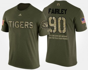 Camo Short Sleeve With Message Nick Fairley Auburn T-Shirt Military #90 For Men's 913285-198