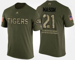 #21 Camo Short Sleeve With Message Military Men Tre Mason Auburn T-Shirt 207861-167