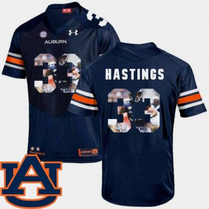 Football Pictorial Fashion For Men's Navy #33 Will Hastings Auburn Jersey 419597-530
