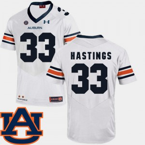 Will Hastings Auburn Jersey White #33 SEC Patch Replica For Men College Football 646945-143