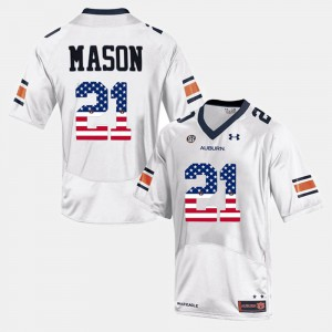 US Flag Fashion #21 White For Men Tre Mason Auburn Jersey 628327-948