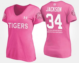 Bo Jackson Auburn T-Shirt With Message Pink For Women #34 350976-269