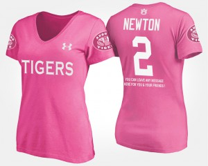 Pink Women Cam Newton Auburn T-Shirt #2 With Message 319111-453