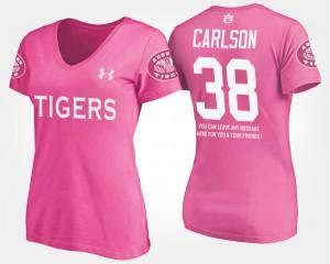 Ladies Pink Daniel Carlson Auburn T-Shirt With Message #38 218147-399