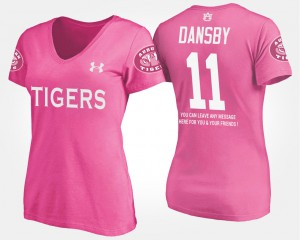 With Message #11 Pink Karlos Dansby Auburn T-Shirt Womens 737566-688