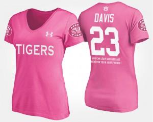 Ryan Davis Auburn T-Shirt With Message Womens #23 Pink 637907-890