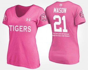Tre Mason Auburn T-Shirt With Message #21 Pink Women 743013-534